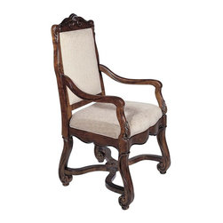 Hekman Furniture - Loire Valley Arm Chair - Set of 2 - Set of 2. Hand carved. Standard brown leather. Warranty: One year. Made from select hardwood solids and veneers. Distressed chateau finish. Seat height: 19 in.. Seat width: 22 in.. Seat depth: 21.75 in.. Arm height: 26.38 in.. Overall: 24 in. W x 25 in. D x 45 in. H