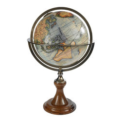 """Authentic Models - Authentic Models GL035 Globe Stand """"Paris 1745"""" - Authentic Models Paris 1745 Globe Stand. Authentic Models is the renowned leader in antique globes. Utilizing the """"gravure"""" printing process, these globes are crafted using original charts and researched for historical accuracy. This classic Vaugondy French antique globe features engraved latitude lines with bronzed equator and pole rings. Measuring approximately 24"""" H and 15.5"""" W, this collectible piece is complete with ebonized wood and bronze stand. Some assembly is required. Instructions included."""