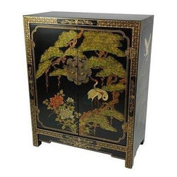 Oriental Furniture - Black Lacquer Cabinet - Hand-made by a family of Chinese artisans, this cabinet has been carefully built from Philippine mahogany, delicately hand-painted with a crane and pine tree scene, and finished with a hand-rubbed matte lacquer. The longevity of this family's craft is a testament to their commitment to quality, having survived despite dramatic social and economic changes in their home region of Guangdong. Boasting two wooden doors and antique hardware, this authentic work of Chinese craftsmanship is a beautiful testament to an ancient tradition.