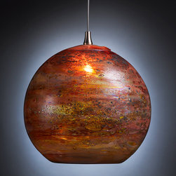 Fireball Pendant Light - Our FIREBALL blown glass pendant light, shown in Amber Multi.