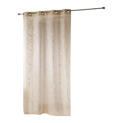"""Evideco - Printed Sheer Grommet Curtain Panels Silvermoon Beige - """"This attractive printed sheer window curtain panel SILVERMOON features silver interlocking circles on beige background, measures 55""""""""W x 95''L and is sold individually. This beige voile panel, made of 100% polyester, adds a subtle, reflective touch to the"""""""