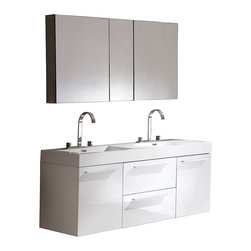 """Fresca - Fresca Opulento White Double Sink Vanity w/ Medicine Cabinet - Dimensions of vanity:  54""""W x 18.63""""D x 23.5""""H. Dimensions of medicine cabinet:  49""""W x 26""""H x 5""""D. Materials:  MDF with acrylic countertop/sinks with overflow. Soft closing drawers and doors. Widespread faucet mount (8""""). P-traps, faucets, pop-up drains and installation hardware included. There is always great design in simplicity.  Double the greatness with this double sink vanity with accompanying medicine cabinet.  To ease any storage worries, beautiful mirrored medicine cabinet will satisfy immediate storage needs for two.  A beautiful widespread chrome faucet is also included.  A great ensemble for those with room to spare but not without limitations on measurements.  Ideal for anyone looking for a winning combination of style, sleek design, and size that brings it all together to present something dashingly urban."""