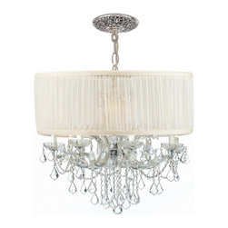 Crystorama - Crystorama CTR-4489-CH-SAW Brentwood Chandelier - This isn't your Grandmother's crystal. The Brentwood Collection from Crystorama offers a nice mix of traditional lighting designs with large tailored encompassing shades. Adding either the Harvest Gold or the Antique White shade to these best selling skus