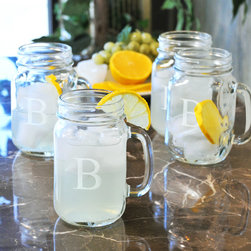 None - Custom Engraved Mason Drinking Jars (Set of 4) - Stir up some sweet memories using this set of four old fashioned drinking jar set and bring the calm of a countryside afternoon to your home decor.