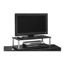 Convenience Concepts - 2-Tier Extra Large Swivel TV Turntable - Sturdy 16 mm thick particle board platform and shelf with woodgrain melamine veneer. 29 mm stainless steel clad posts for strength. Durable and strong steel ball bearing swivel. Limited warranty. Black finish. Assembly required. 31.5 in. L x 15.7 in. W x 9.2 in. H (19 lbs.)
