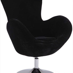 "Chintaly Imports - Modern Swivel Arm Fun Chair, Black - 360 Degree Swivel. Modern Egg Fun Design. High Armrest for Extra Comfort. Comfortable Seat. Easily Assembled.; Chrome Finish; Upholstery: Black Velvet; 360 Degree Swivel; Modern Egg Fun Design; High Armrest for Extra Comfort; Comfortable Seat; Easily Assembled.; Dimensions: 39.37""H x 28.74""W x 18.9""D"