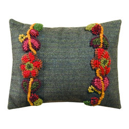 "Homespice Décor - Floral Vines Pillow, 12"" x 16"" - Our pillows make great accents for your home and add beauty and comfort. These unique pillows combine old world techniques such as appliques and hooking, with interesting designs to provide an exciting new decorating element.  Trim, never pull loose ends. What may appear as an irregularity color or construction is actually part of the ""Handmade"" look."