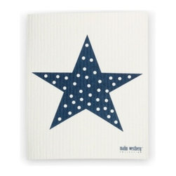 Swedish Dishcloth Star, Dark Blue - THE SWEDISH ECO-FRIENDLY DISHCLOTH: The dry sponge cloth was invented in 1949 by the Swedish engineer Curt Lindquist, who discovered that a mixture of natural cellulose (wood pulp) and cotton can absorb an incredible 15 times its own weight in water.