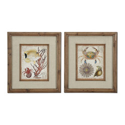 Uttermost - Uttermost Tropical Waters 32x28 Rectangular Framed Art (Set of 2) - The Frames Feature a Unique, Reclaimed Wood Look with Medium Brown Undertones, Dark Brown Wash and a Light Taupe Glaze. Prints are Accented by Textured, Beige Linen Mats and are under Glass.