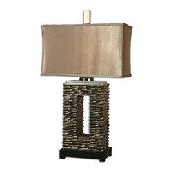 Uttermost - Aged Dark Bronze Finish With A Black Foot Tarin Table Lamp - Aged Dark Bronze Finish With A Black Foot Tarin Table Lamp