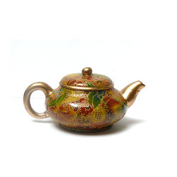 "Chinese Zisha Red Glaze Floral Painting Teapot - Dimensions: w5.75"" x d4"" x h3"""