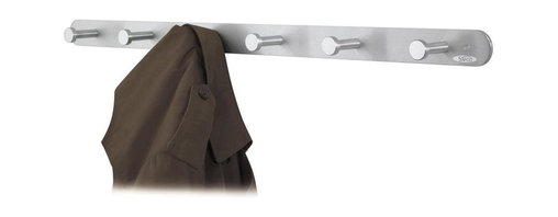 Safco - Nail Head Coat Hook - Set of 6 - Set of 6. Includes mounting hardware. Hook holds up to 10 lbs.. Six hooks. Over-sized circular hooks. GREENGUARD Certified. Made from steel and aluminum. Satin aluminum finish. 36 in. W x 2.75 in. D x 2 in. H (2 lbs.). Hook: 1 in. Diameter (Head), 0.63 in. Diameter (Shaft), 2.5 in. D. Assembly InstructionMake a great impression with your guests rain or shine! Make sure each guest has a place for their hats, coats and scarves. This coat hook can greet guests in your reception area, lobby, office, waiting room, training center, conference room or classroom. Now all your guests will feel like they're at home.