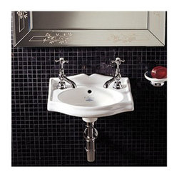Whitehaus Collection - Whitehaus AR035 White Porcelain Rectangular Wall Mount Bathroom Basin Sink - A modern designed curved top line creates fascinating high arch and upgraded decor detail. White porcelain rectangular wall mount bathroom basin sink by Whitehaus is sophisticated decor detail that brings more style. Integrated white porcelain oval bowl make this sink easy to keep it clean and shinny for a long time like on a first day.