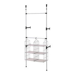ORE International - Simple Modern Telescopic Clothes and Towel ra - This original modern and simple two tier clothes rack is designed to maximize hanging capacity, while reduce cluttering space. This model comes with two uniquely design towel racks for better organization and practicality. This sleek and attractive clothes hanger is adjustable and reinforced with stylish sturdy wall mounts, while the small and compact size made this design great for storage and mobility   . Made with durable and stainless steel finished with a matte coat. 34 in. L x 13 in. W x  89-106 in. H (9 lbs.)