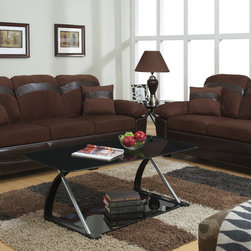 Chocolate Microfiber Sofa Couch Loveseat Storage Base Living Room Set - Captivate your guests with this stylish chocolate colored microfiber sofa set with oversized arm, back and leg supports. It features a dark brown brown frame and matching accent horizontal stripe across the back supports and on the complimentary pillows. Also features flip up seating w/ storage.