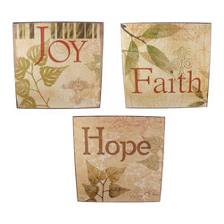 Set of 3 `Hope, Faith, Joy` 14 In. Square Wooden Wall Plaques - This lovely set of 3 square wall plaques displays positive affirmations of `Hope, Faith, and Joy` in colors that complement most decor. Each plaque is made of wood and measures 14 inches long, 14 inches tall, 1 1/4 inches deep and mounts to the wall with a single nail or screw. Display them in a straight row, column, or staggered for a beautiful effect on a bare wall in the bedroom, family room, or anywhere in your home.