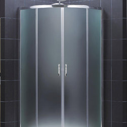 """DreamLine - DreamLine Prime 34 3/8"""" by 34 3/8"""" Frameless Sliding Shower Enclosure - The Prime shower enclosure is the perfect combination of sophisticated style and brilliant practicality. The corner installation saves space while creating a stunning focal point. Sliding doors create a comfortably wide walk through without claiming the space necessary for a swing door. The Prime offers a unique shape with a neo-round design, achieved with beautifully curved tempered glass. 34 3/8 in. D x 34 3/8 in. W x 72 in. H ,  1/4 (6 mm) frosted tempered glass,  Chrome hardware finish,  Frameless glass design,  Out-of-plumb installation adjustability: Up to 3/4 in. per side,  Anodized aluminum profiles and guide rails,  Designed to be installed against finished walls (not directly to studs),  Door opening: 20 3/8 in.,  Stationary panel: Two 13 7/16 in. panels,  Material: Tempered Glass, Aluminum,  Optional SlimLine shower base and shower backwalls available ,  Tempered glass ANSI certifiedProduct Warranty:,  Limited 5 (five) year manufacturer warranty"""