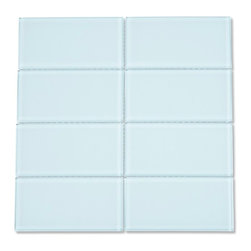 """CNK Tile - Vapor Glass Subway Tile, Box of 11 Sq Ft - The vapor glass subway tile is made from the strongest stain-resistant crystal clear glass and is a soft blue colored tile. These tiles have a 8mm thickness that increases their durability and the depth of their color making them truly beautiful subway tiles. These subway tiles can be used for commercial or residential construction in either a wet or dry environment. These subway tiles are sold by the square foot comprised of 8 mesh mounted tiles. The individual tiles measure 3""""x6""""."""