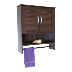 4D Concepts - 4D Concepts Bathroom 2 Louvered Doors Wall Cabinet in Espresso - What a wonderful storage space saving unit for your bathroom! This hanging cabinet has 2 decorative louvered doors with shaped pewter colored handles that swing open to a large storage area. The shelf below the doors is great for washcloths and any other nick knacks. The black painted wooden rod is great for hanging towels etc. The hanging cabinet fits nicely in any bathroom in the home and offers additional storage. Constructed of composite board and highly durable PVC laminate. Clean with a dry non abrasive cloth. Assembly required.