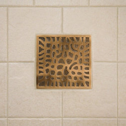 """4"""" Solid Bronze Wall Tile with Coral Design - Made of solid bronze and featuring the unique texture of coral, this 4"""" accent tile is the perfect focal point for your bathroom or kitchen. Pair with the optional tile frame to create a unique, sophisticated look."""
