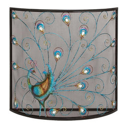 Benzara - Classic and Lovely Inspired Bird Metal Fireplace Screen Home Accent Decor - Classic and lovely inspired bird metal fireplace screen living dining and family room home accent decor