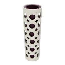 Benzara - Elegant and Beautiful Style Ceramic Pierced Vase Home Accent Decor - Description: