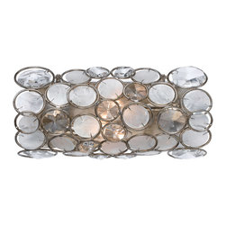 Crystorama - Crystorama 522-SA Palla 2 Light Wall Sconces in Antique Silver - The Palla collection, inspired by one of Dorian Webb''s bracelet designs, is more elemental in nature and natural in earth tones. Palla is Italian for sphere, and the collections standout fixture is the orb-shaped design. Palla offers two hand painted finishes, one frame in an antique silver comprised of translucent white capiz shells with clear hand cut jewels, the other frame an antique gold finish accented with earth tone resin lenses with hand cut amber jewels.