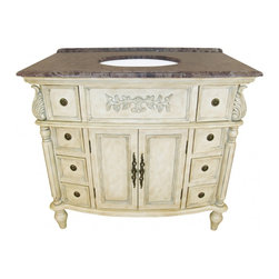 """L&K Designs - 39 Inch Traditional Single Sink Bathroom Vanity - The Florence 39"""" Vanity features an off white finish with antiqued gray accents and tapered legs.  This vanity has 2 functional doors and 8 functional drawers. The drawers utilize an epoxy roller drawer guide. Dimensions: 39""""W X 22""""D X 36""""H (Tolerance: +/- 1/2""""); Counter Top: Brown Emperador Marble; Finish: Off White with Antiqued Gray Accents; Features: 2 Doors, 8 Drawers, 1 Interior Shelf; Hardware: Antique Burnished Brass; Sink(s): 11.5"""" X 15"""" Oval Undermount Bisque Ceramic; Faucet: Pre-Drilled for Standard Three Hole 8"""" Center (Not Included); Assembly: Fully Assembled; Large Cut Out in Back for Plumbing; Included: Cabinet, Sink; Not Included: Faucet, Backsplash, Mirror (36""""W X 38""""H)"""
