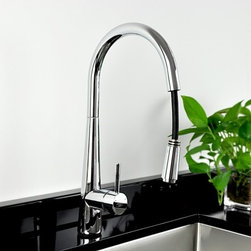 JollyHome - JollyHome Single Handle Kitchen Faucet Hot & Cold Water - Faucet is constructed from solid brass with stunning triple plated chrome finish.Contains sedal drip-free ceramic cartridge.Spout swivels 360-degrees.All mounting hardware and hot/cold waterlines are included