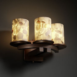 Justice Design Group - Justice Design Group ALR-8776 Wall Sconce Alabaster Rocks! Collection - Justice Design Group ALR-8776 Dakota Three Light Curved WallSconce