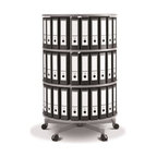 Spin N File Three Tier Rotary Binder Storage Carousel - The Spin N File Three Tier Rotary Binder Storage Carousel is a mobile tower that's sure to make your office run more efficiently. This 32-inch diameter storage solution for your home or office features heavy-duty laminated shelves and a five-point wheeled base. Each shelf is designed to hold over 100 lbs. and is positioned to accommodate letter-size binders and books. The customizable design of the tiers also makes it possible to add additional shelving when needed. But the real highlight of this piece is the full rotating function that allows you to store and organize more documents in one place and make them easily accessible. Measures 32 diam. x 38H inches.