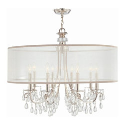 Crystorama - 8-Lights Polished Chrome Chandelier Draped with Crystal - Polished Chrome Chandelier Draped with Oyster Crystal Accented with a Silk Shade.
