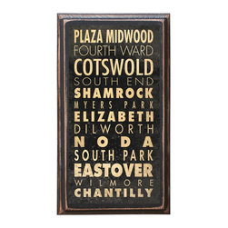 "CrestField - Charlotte Points of Interest Decorative Vintage Style Wall Plaque / Sign - This vintage style wall plaque is hand made to commemorate the points of interest in Charlotte. The pine board has a quarter round routed edge and is sized at 7.25"" x 13"" x .75"". The surface is finished with my ""flatter than satin"" poly finish with a saw tooth hanger on the back. Would look great in any decoration project, home or office."