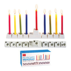Keyboard Keys Menorah - In my family, we try to stay away from the computer, the iPhone and other devices for 30 minutes after we light the menorah. This keyboard menorah will make the wait easier for some of us.