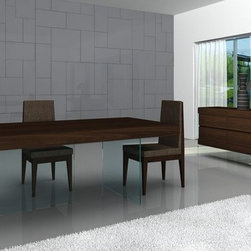 High-class Wooden and Clear Glass Top Fabric Seats Modern Dining Table Sets - Float modern dining set in timber chocolate with glass base.