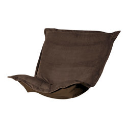 """Howard Elliott - Bella Chocolate Puff Chair Cushion - Totally Stylized! Extra Puff cushions in Bella are a great way to get a new look without the expense of buying a whole new chair! Puff cushions fit Scroll and Rocker frames. the Puff Cushion with the lush velvety texture and rich colors of Bella make this the perfect addition to any home. This Bella Chocolate piece is 100% polyester finished in deep chocolate brown. 40""""W x 49""""L x 7"""""""