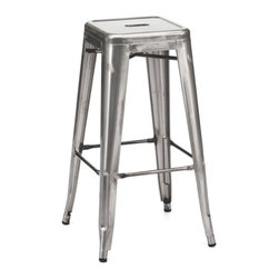 Design Lab MN - Amalfi Stackable Clear Gunmetal Steel Barstool Set of 4 - This modern stackable Tolix bar stool is the perfect addition to any restaurant, bar, bistro, patio, commercial space or even home! With its sleek, gunmetal finish, sturdy rolled steel frame and classic mid-century modern style, this piece goes with virtually any existing d��_cor you may have.