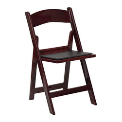 Flash Furniture - Flash Furniture Hercules Folding Chair in Red and Mahogany - Flash Furniture - Folding Chairs - LEL1MAHGG - This Hercules Series Folding Chair features a 1000 lb. weight capacity so that you can be assured that it will accommodate any function. From indoor or outdoor weddings to other upscale events this resin folding chair will never let you down.