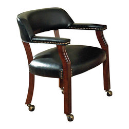 Steve Silver - Tournament Arm Chair With Casters - Black - The Classic Cherry Gaming Table Set has an attractive Cherry finish that will make a lovely addition to your home bar, billiards room or game room. Features include highly detailed woodworking, intricate carvings. Each of the matching chairs features detailed craftsmanship, casters which provide mobility, comfortable padded seats and backs that have decorative nail head trim and are upholstered in a durable leather that is easily cleaned. The Game table top is sold separately that includes poker chip and drink holders with an upholstered top for playing the ultimate games.