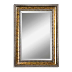 """Sinatra Mottled Brown Vanity Mirror - *Frame features a hand applied gold leaf undercoat with blotched brown stain, black speckling and a dark gray glaze. Mirror has a generous 1 1/4"""" bevel."""
