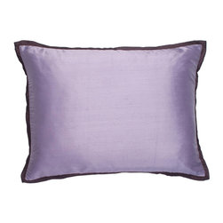 """Mystic Valley - Mystic Valley Traders Profiles Silk Plum - Standard Sham with Insert - The Profiles Silk Plum sham is fashioned from the Lavender fabric, reversing to the Lilac fabric, and finished with a 1/2"""" Plum mitred flange; sold with polyester microfiber insert; standard 20""""x26""""."""