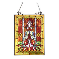 None - Tiffany Style Victorian Motif Window Panel - This Tiffany style Victorian design Window Panel will add color and beauty to any room. Handmade from over 280 hand-cut pieces of art glass,this panel showcases brilliant tones of green,amber,and blue.