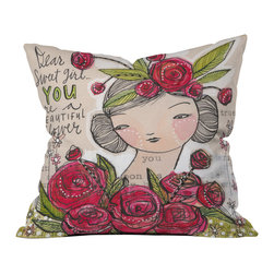 Cori Dantini Dear Sweet Girl Outdoor Throw Pillow - Do you hear that noise? it's your outdoor area begging for a facelift and what better way to turn up the chic than with our outdoor throw pillow collection? Made from water and mildew proof woven polyester, our indoor/outdoor throw pillow is the perfect way to add some vibrance and character to your boring outdoor furniture while giving the rain a run for its money.
