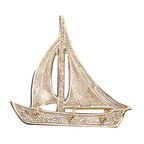 """Brass Sailboat Key Hanger - The brass sailboat key hanger is available in size 6"""". It is made of sand cast, solid, polished brass and made to last. It will add a definite nautical touch to wherever it is placed and is a must have for those who appreciate high quality nautical decor. It makes a great gift, impressive decoration and will be admired by all those who love the sea."""