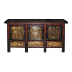 Chinese Painted Buffet - Hand-painted three-door buffet from Shanxi, China. Top opens up for easy access. New interior shelving and hardware.
