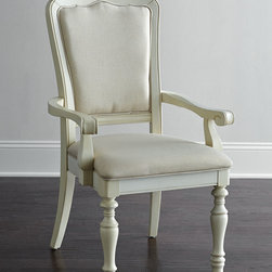 "Horchow - Two Coventry Armchairs - HONEYSUCKLE WHITE - Two Coventry ArmchairsDetailsWith turned front legs and gently scalloped backs these armchairs bring casual simplicity and coastal charm to the dining room. Since they're finished in neutral hues they blend in nicely with a variety of decor styles and can be used as accent seating in any living area. Handcrafted of acacia wood and engineered hardwood.Hand-painted finish.Viscose/linen upholstery.Sold in pairs; each 25""W x 26""D x 42""T. Seat 18.75""T; arms 25""T.Imported.Boxed weight approximately 54 lbs. Please note that this item may require additional delivery and processing charges."