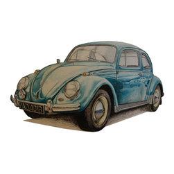 """VW Beetle 1965"" Artwork - An original color pencil drawing of a 1965 VW Beetle."
