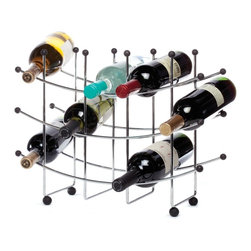 """Oenophilia - Fusion 15-Bottle Wine Rack - The spare modernity of this unpretentious rack makes it a brilliant choice for kitchen wine storage.14""""H X 17.5""""W X 7""""D"""