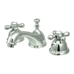 """Kingston Brass - Two Handle 8"""" to 16"""" Widespread Lavatory Faucet with Brass Pop-up KS3961AX - Two Handle Deck Mount, 3 Hole Sink Application, 8"""" to 16"""" Mini-Widespread, Fabricated from solid brass material for durability and reliability, Premium color finish resists tarnishing and corrosion, 1/4 turn On/Off water control mechanism, 1/2"""" IPS male threaded shank inlets, Ceramic disc cartridge, 2.2 GPM (8.3 LPM) Max at 60 PSI, Integrated removable aerator, 6-1/2"""" spout reach from faucet body, 3-1/2"""" overall height.. Manufacturer: Kingston Brass. Model: KS3961AX. UPC: 663370015441. Product Name: Two Handle 8"""" to 16"""" Widespread Lavatory Faucet with Brass Pop-up. Collection / Series: Restoration. Finish: Polished Chrome. Theme: Classic. Material: Brass. Type: Faucet. Features: Drip-free ceramic cartridge system"""