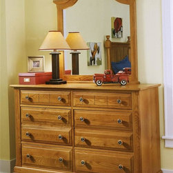 Vaughan Bassett - Double Dresser & Vertical Mirror Set in Oak F - Includes double dresser and vertical mirror. Double dresser:. 6 Drawers. 52 in. W x 18 in. D x 36 in. H. Vertical mirror: 35 in. L x 2 in. W x 40 in. H. Oak finish. Assembly required